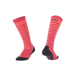 2Xu Striped Run Compression Socks Woman Fiery Coral/Fandango Pink