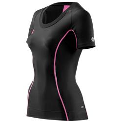 Skins A200 Womens Top Short Sleeve - Kompressionströja - Black/Pink